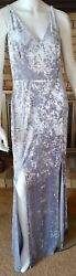 Calvin Klein Womens Silver Crushed Velvet Maxi Dress Gown NWT $199 Size 14 $17.50