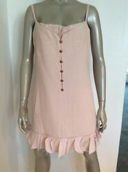 Chanel Size 42 Silk Tweed Spaghetti Strap Lace Pink Dress Gold Buttons Runway