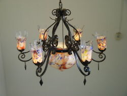 ART DECO STYLE HAND MADE WROUGHT IRON CHANDELIER amp; PURPLE BLOWN GLASS SHADES $3500.00