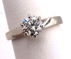 18k White Gold .85ct Round SI Diamond Solitaire Engagement Ring Size 6 3.6grams