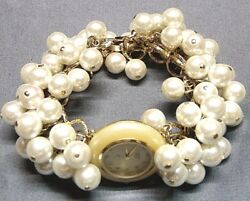 VINTAGE STUNNING GOLD TONE FAUX PEARL WATCH~ SIGNED: BONETTO