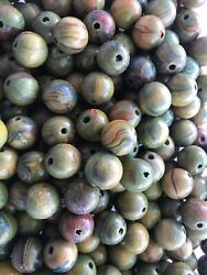100 15mm Beautiful Green Swirl With Colors Wooden Beads