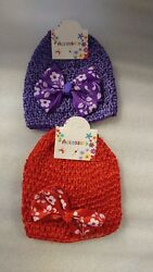 Baby Girl Knitted Beanie Set with Bow - Purple Red - Festive