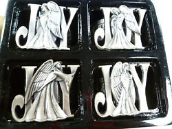 4 Pcs 1995 Silver plate Joy Napkin Rings Home for The Holidays Christmas