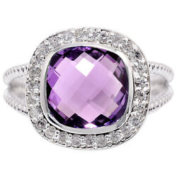 Natural Amethyst 925 Sterling Silver Ring Jewelry Size 6-9 DRR6015_B