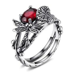 925 Silver Plating Topaz Dragonfly Ring Wedding Engagement Jewelry Wholesale
