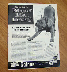 1952 Gaines Dog Meal Food Ad Boxer Dog Prime of Life Longer $3.00