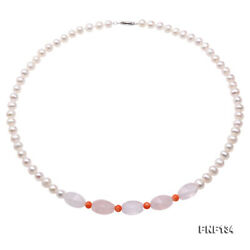 JYX Necklace 6.5-7.5mm Near Round White Freshwater Pearl Necklace Pink Crystal