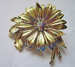 Vintage jewellery 1970s large goldtone brooch with central diamante by Exquisite