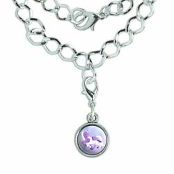 Magical Mom Unicorn and Baby Silver Plated Bracelet with Antiqued Charm
