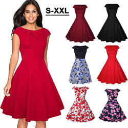 Women 50#x27;s Rockabilly Swing Evening Dress Vintage Floral Cocktail Party Dresses $18.30