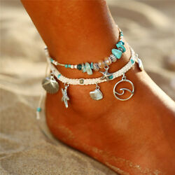 2pc Sea Theme Shell Star Ankle Bracelet Beads Anklet Women Pendant Foot Jewelry $7.72