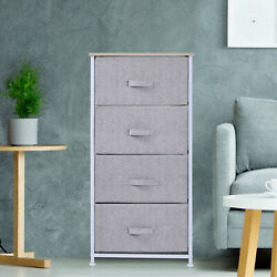 4-Drawer Storage Cube Dresser Unit Bedroom Organizer Shelf Tower Fabric Bins