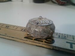 STUNNING STERLING SILVER MINIATURE BASKET WITH WORKING LID-SIGNED