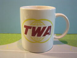 TRANS WORLD AIRLINES GLASS CERAMIC COFFEE MUG