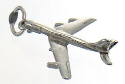 Airplane Passenger Sky Flying Charm Necklace Ster Silver Pendant 1.6g 1in J727 $17.99