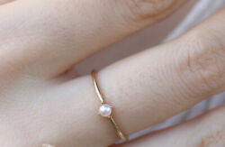 GOLD PLATED DAINTY PEARL RING MINI PEARL RING $5.24