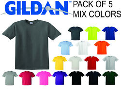 5 Pack GILDAN Short Sleeve Mix Colors T Shirts Plain T Shirts Tee Assorted Mix $17.99
