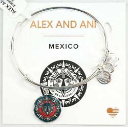 New Alex And Ani 2019 Mexico Exclusive Shiny Silver Adjustable Bangle Bracelet