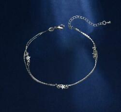 925 Sterling Silver Stars Beads Foot Ankle Bracelet Double Chain Anklet A14