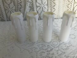 *** 3 3 4quot; VINTAGE WHITE PLASTIC CANDLES CHANDELIER SOCKET COVERS SET OF 4 *** $29.99