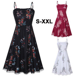 Women#x27;s Mesh Floral Spaghetti Strap Summer Beach Party Cocktail Dresses Sundress $15.13
