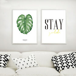 Watercolor Plant Leaves Poster Prints Inspirational Wall Art Canvas Painting $9.59