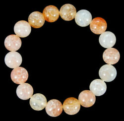 10mm Natural Yellow Fire Agate Gemstone Round Bracelet 7.5''