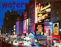Vintage Photo Night Life of New York in Times Square in the 1960s 8.5 x 11 Photo