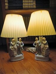 Occupied Japan Love Story Pair Lamps Victorian Couples Celluloid Shades Vintage $82.45