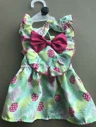 Simply Wag YELLOW PINK PINEAPPLES Summer Strappy Dress Puppy Dog small $16.50