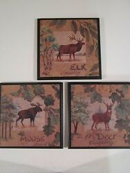 Moose Deer Elk rustic country lodge wall decor plaques cabin pictures signs $24.97