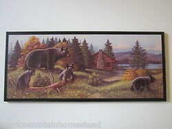 Bears Rustic Wall Decor plaque primitive country cabin lodge black bear picture $39.96