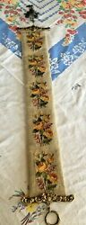 Vintage Bell Butler Pull Needlepoint Bell Included - Yellow Roses