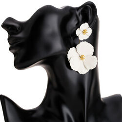 Womens Creative Big Flower Shape Earrings Drop Dangle Long Earring Party Jewelry
