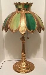ANTIQUE SLAG GLASS LAMP TIFFANY STYLE LARGE TABLE LAMP 33 INCHES TALL GORGEOUS $400.00