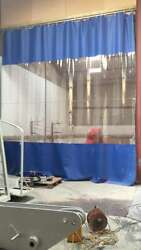 BLUE & CLEAR BLUE HEAT WELDED WORKSHOP CURTAINS 4.2M HIGH X 4.2M  WIDE & TRACK