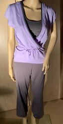 WOMEN'S THREE PIECE YOGA OUTFIT CHAMPION LILAC AND GRAY SIZE M L $29.00