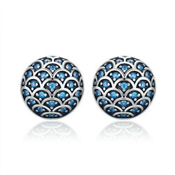 Authentic SS 925 Sterling Silver Stud Brilliant Blue CZ Earrngs SCE239