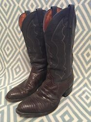 J Chisholm Gray Exotic Lizard Leather Cowboy Boots Size 9.5 D Style 972 USA