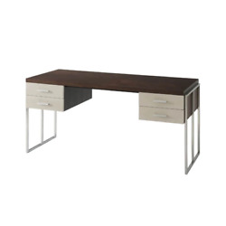 Modern Desk with Polished Nickel Supports