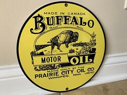 Buffalo Motor Oil round metal sign Vintage Gasoline Style reproduction $19.99