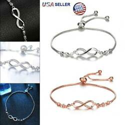 Infinity BRACELET Love Charm Stainless Adjustable Chain Womens Crystal Jewelry  $4.59