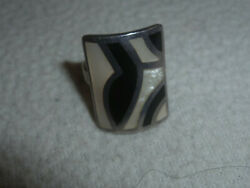 STERLING SILVER 925 MOTHER OF PEARL ONYX INLAY SQUARE RING SIZE 7 OLD PAWN