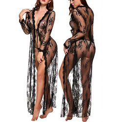 Black Women Sexy Lingerie Long Robe Gown Open Sheer Mesh Lace See Through Dress