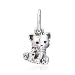 New Authentic 925 Sterling Silver Love Sweet Cat Dangle Charm Pendant Bead