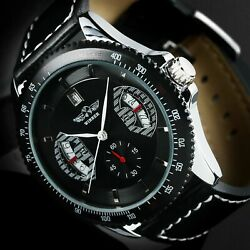 Mens Watch Automatic Mechanical Black Dial Stainless Steel Case Skeleton Luxury $23.70
