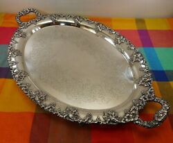 Antique E.G. Webster & Son Silverplate Butler Serving Tray Large 28
