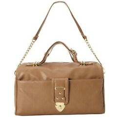 Olivia + Joy Chelsea Top Handle Satchel Tan East West Synthetic Gold Tone $98