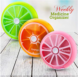 WEEKLY DAILY 7 DAY ROUND PILL BOX STORAGE DISPENSER ORGANIZER TABLETS CASE $6.59